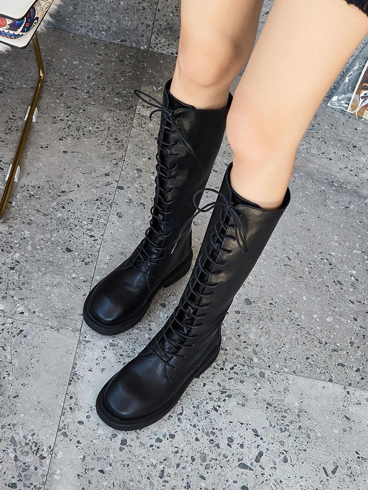 潮鞋洛百丽欧洲站高筒靴女2019新款真皮及膝靴系带长靴过膝瘦瘦靴