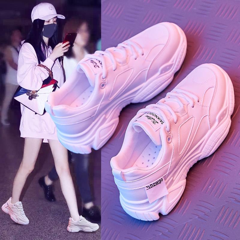 夏季鞋女2019新款网面运动单鞋百搭ins春款透气小白老爹潮鞋夏款