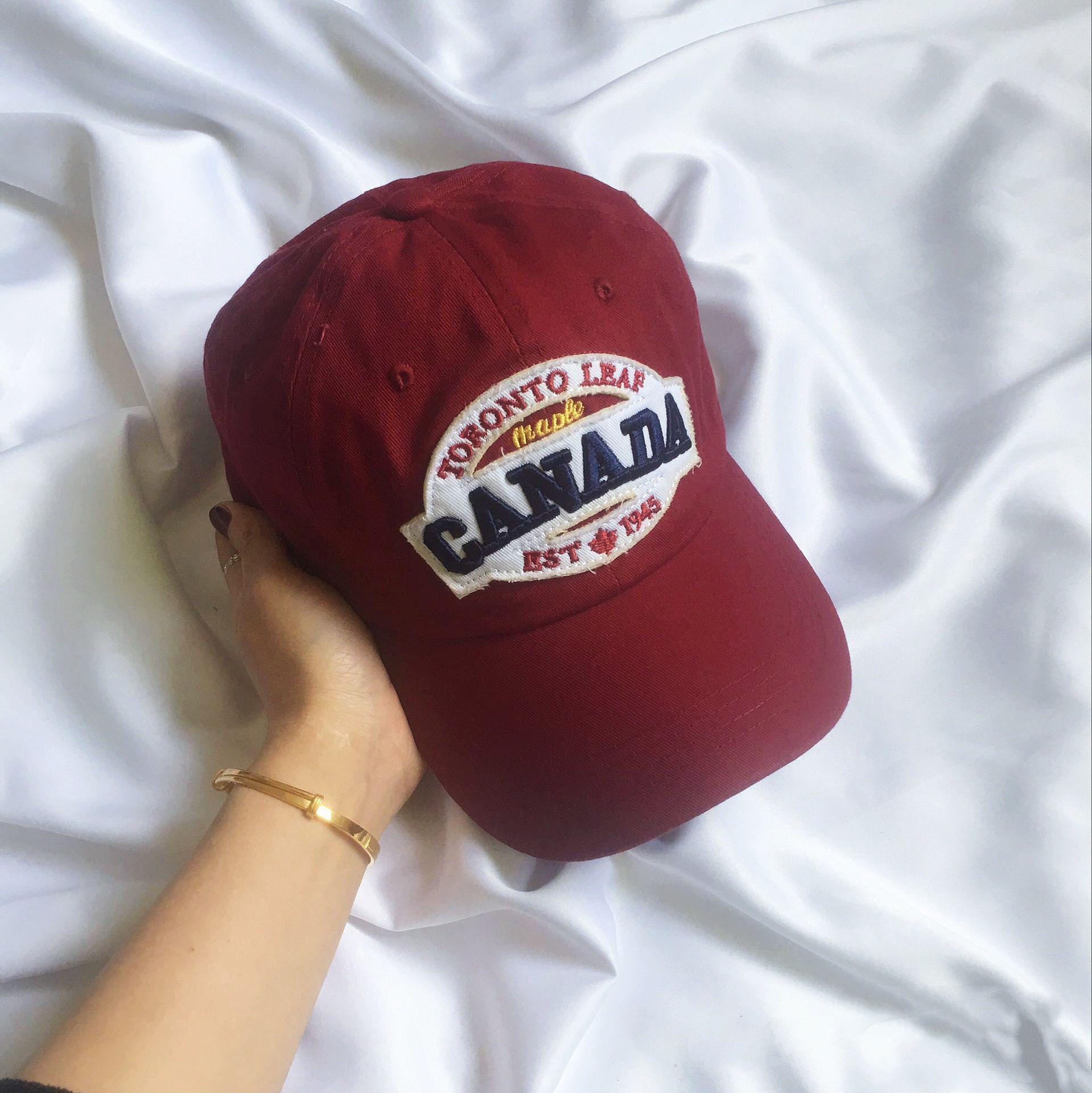 insi风百搭美式复古做旧Canada英文刺绣鸭舌帽可调节棒球帽子男女