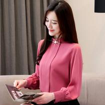 2019春装大码雪纺衫女装长袖打底衫新款韩版上衣百搭气质时尚T恤