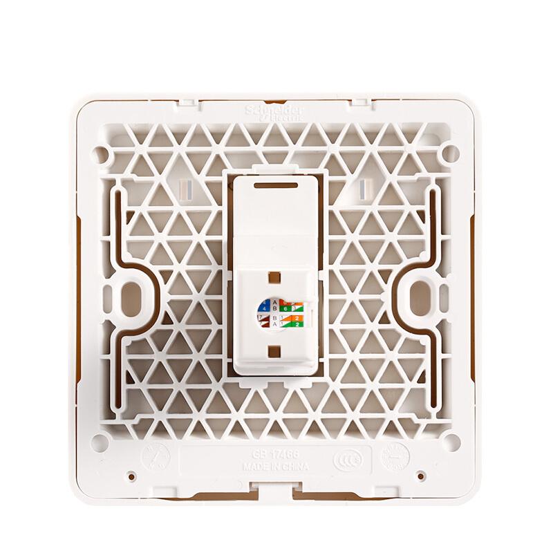 施耐德弱电插座面板 绎尚系列镜瓷白色单联网络电脑插座【六类】