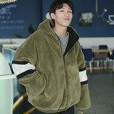 Chic cotton men's winter lamb fur coat men's Korean version plus velvet thickening loose student hooded plush cotton clothing
