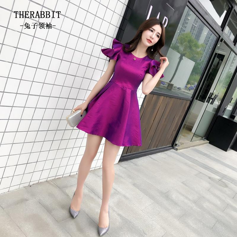 春装2018新款女夏潮紫色荷叶袖露肩连衣裙蓬蓬裙韩版高腰小个子裙