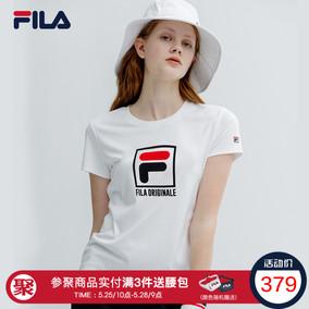 FILA斐乐女T恤2019夏季新品纯棉透气短袖T女时尚休闲运动上衣女