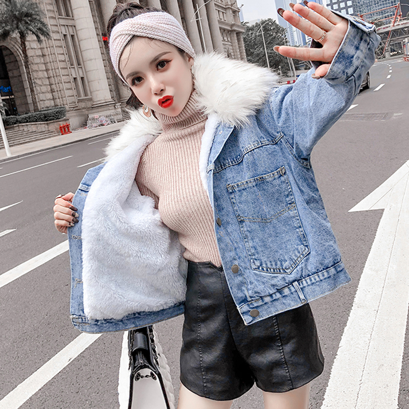 plus velvet thickening Denim jacket female autumn and winter new Korean version of the fur collar long-sleeved tooling jacket wide