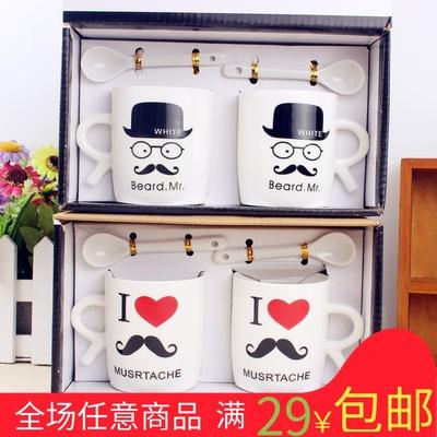 创意带勺情侣杯子 一对喝水杯子 小胡子情侣系列水杯 陶瓷杯 套装