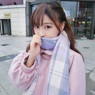 逗酱秋冬日系软妹学院风日常百搭冰淇淋梦幻粉嫩格子流苏保暖围巾