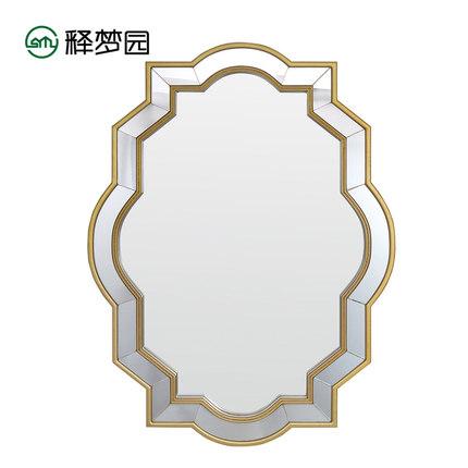 欧式立体玄关装饰镜卫生间浴室洗手间镜子梳妆化妆镜壁挂镜9004