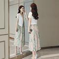 春装 夏季背心裙子女 中长款 2018新款 棉麻连衣裙两件套碎花亚麻套装