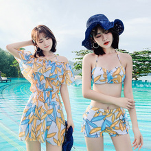 Women's new swimsuit of 2019 three-piece bikini suit with slim stomach, conservative small chest and sexy hot spring swimming suit