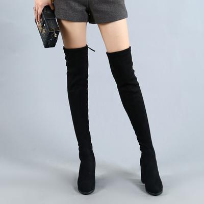 长靴女过膝2018秋冬新款高跟过膝长靴粗跟弹力长筒靴高筒靴女过膝