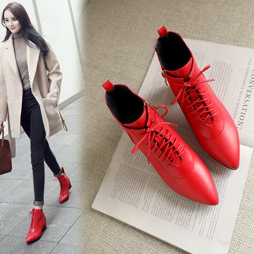 2018秋冬新品尖头系带短靴女欧美风粗跟英伦女靴中跟矮靴马丁靴女