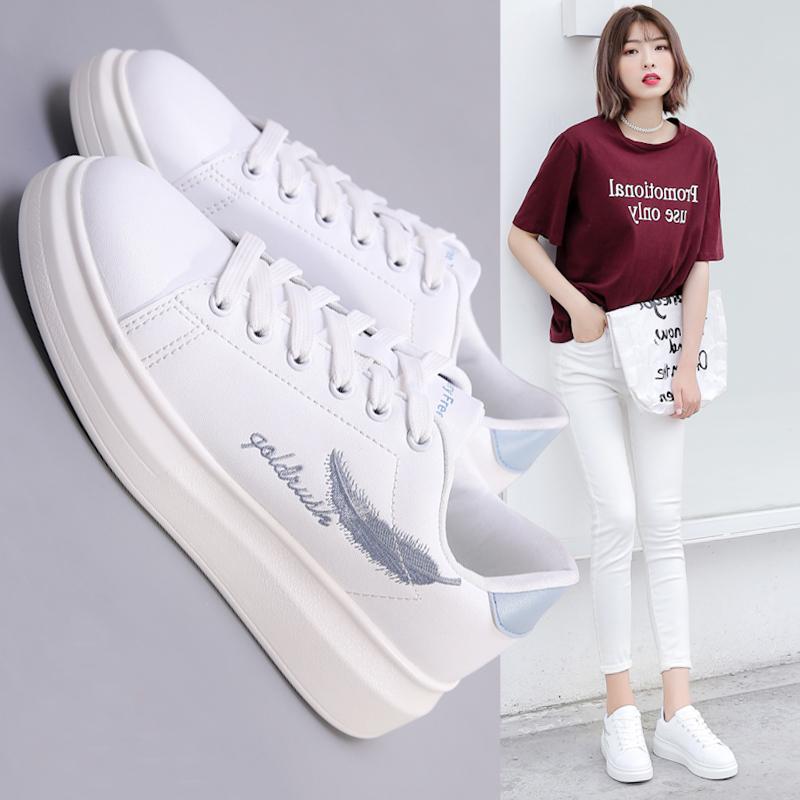 小白鞋女2018春季新款韩版百搭厚底板鞋休闲单鞋学生夏季透气白鞋