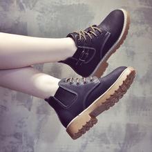 2018新款秋冬马丁靴女英伦风韩版百搭加绒靴子女切尔西短靴女鞋子