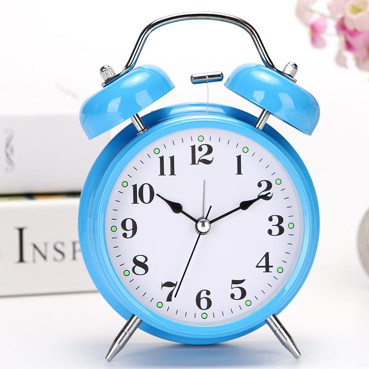 简约时尚学生床头静音小闹钟儿童可爱创意卧室闹表超大声闹铃台钟