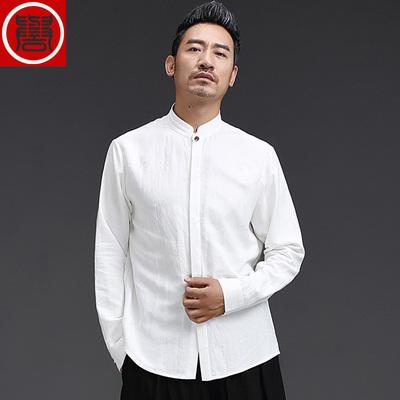 中国风男装 长袖衬衫立领亚麻上衣男唐装棉麻衬衫中式长袖民族风
