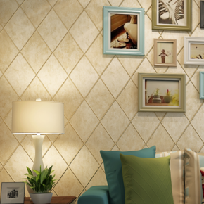 韩尚无纺布壁纸 菱形3D立体珠光方块复古 客厅卧室背景墙墙纸K