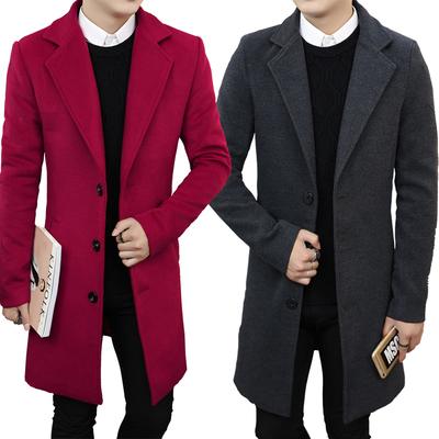 新款反季韩版修身中长款毛呢大衣男秋冬羊毛呢风衣呢子外套加厚潮