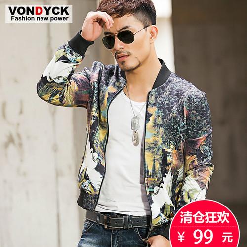 VONDYCK/范戴克新款男士时尚潮男花夹克 棒球服 个性夹克外套男