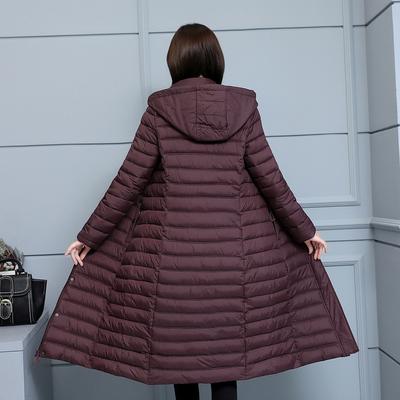 2018新款女装轻薄款过膝妈妈装棉袄中年长款修身冬季棉服加厚外套