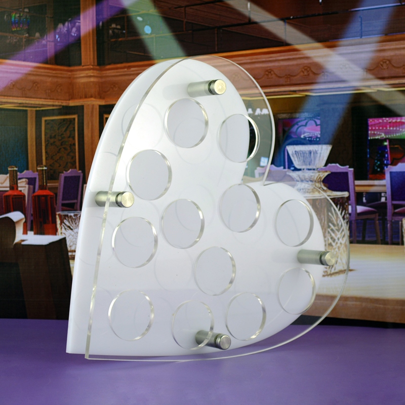 精品创意亚克力心形子弹杯架 白酒烈酒啤酒杯托酒吧ktv圆孔方孔