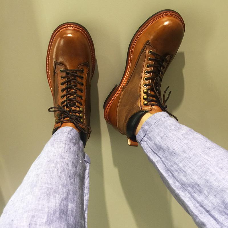 欧美英伦擦色大头真皮工装马丁机车靴百搭复古高帮休闲男女鞋韩版