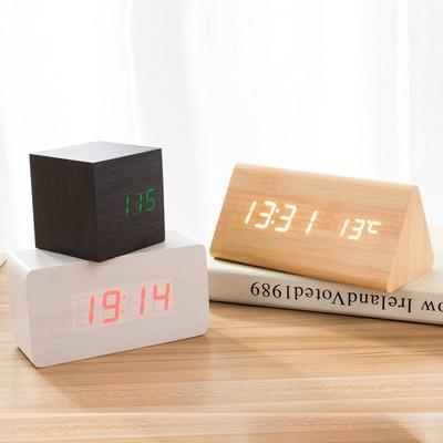 數字木制床頭鐘日式護眼溫度計實木制座臺鐘家庭電子藝術led鬧鐘特價