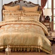 家纺双人被套夹棉床笠式床罩床裙四件套全棉 婚庆床品六件套加厚