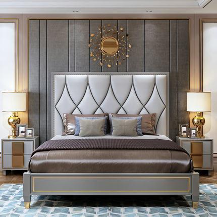 美式床全实木床轻奢床真皮床主卧床双人床1.8米简美婚床ins网红床