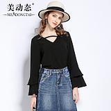 [新品促销]美动态2018新款大码女装春装微胖mm喇叭袖上衣200斤胖妹妹显瘦T恤
