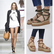 罗马绑带松糕鞋 露趾 系带厚底女鞋 夏季草编坡跟女凉鞋 欧美2017新款