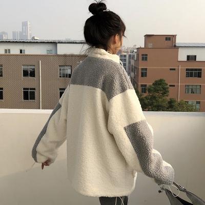 秋冬ulzzang韩版新款港风宽松百搭羊羔毛拼色立领拉链外套女学生
