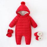 Baby Siamese Down Jacket Men and Women Baby Winter Net Red Newborn Thicken Siamese Outfit Tunic Climbing Suit