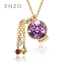 Enzo jewelry 12 constellation necklace pendant 9K gold inlaid color crystal fashion colored gemstones wild fashion pendant