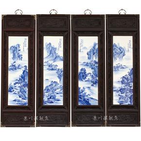 景德镇陶瓷板画挂画四条屏手绘山水背景墙家居酒店客厅饰品摆件