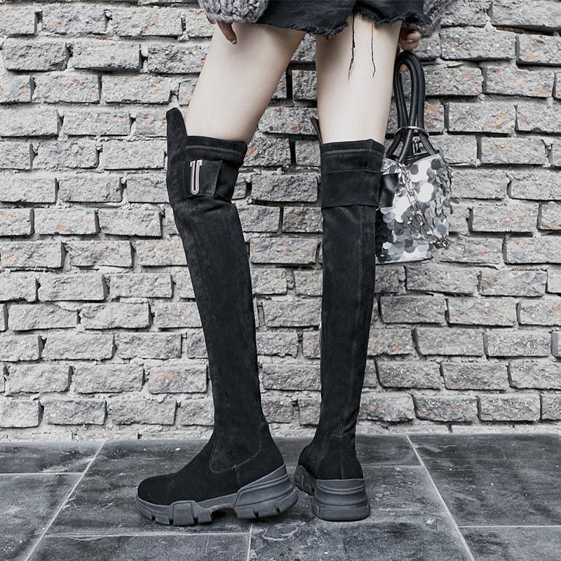 真皮厚底高筒靴黑色过膝长靴女显瘦腿弹力靴骑士马靴性感长筒靴冬