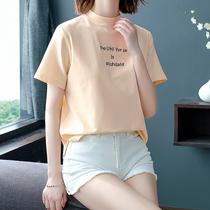 2019春夏新款半高领短袖T恤女纯棉宽松大码纯色半袖打底衫薄上衣