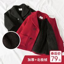 加绒加厚新年装男女童宝宝毛呢外套儿童双排扣中长款韩版呢大衣