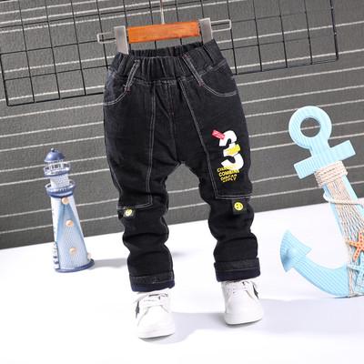 宝宝秋冬款韩版牛仔裤男童修身长裤1-2-3-4-7岁小童加绒加棉裤子
