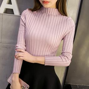 秋冬新款韩版短款半高领毛衣打底衫女长袖套头修身显瘦针织打底衫