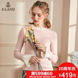 ELAND秋季新款少女系拼接百褶花边弹力套头针织衫EEKA88911I