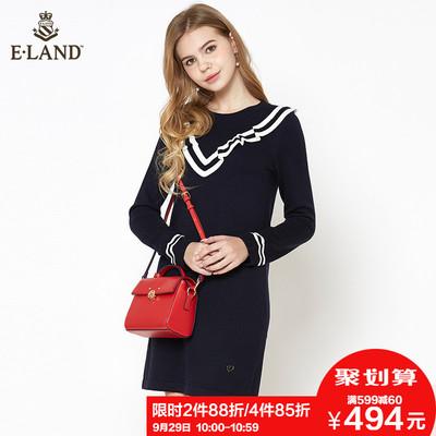 2件88折 ELAND18拼接撞色条纹捏褶深V花边针织连衣裙中长裙