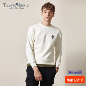 TeenieWeenie小熊2017冬季男刺绣套头圆领长袖加绒卫衣TNMW74T06A
