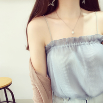 Hong Kong Flavor chic Windward Ear Pleated chiffon Sling small vest female sleeveless shade style bottom shirt top summer