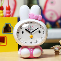 Creative alarm clock mute bedside female student with cute cartoon multi-function talking children luminous small alarm clock