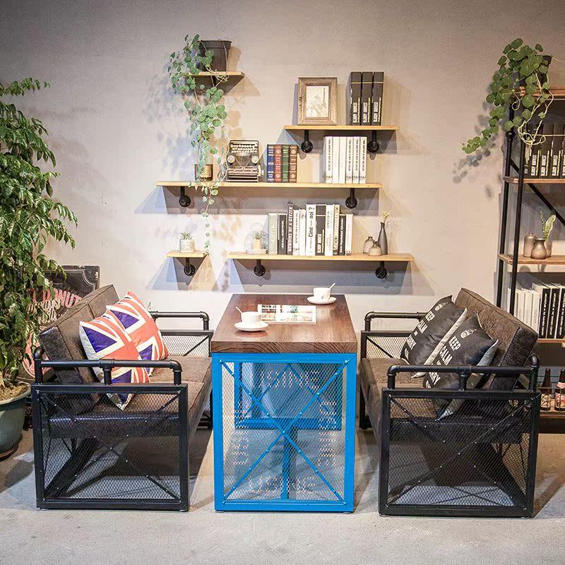 工业风复古西餐厅甜品店咖啡厅卡座沙发餐桌家用定制酒吧桌椅组合