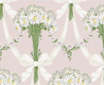 美式田园风墙纸美国进口纯纸粉色花束卧室婚房女孩房背景墙壁纸