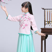 Girls improved cheongsam 2018 new Tang suit children Chinese style princess dress primary school children embroidered Hanfu summer