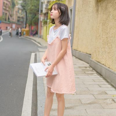 尤西子艾蜜雪2019秋比米祖夏季打底圆领韩版背带女装连衣裙