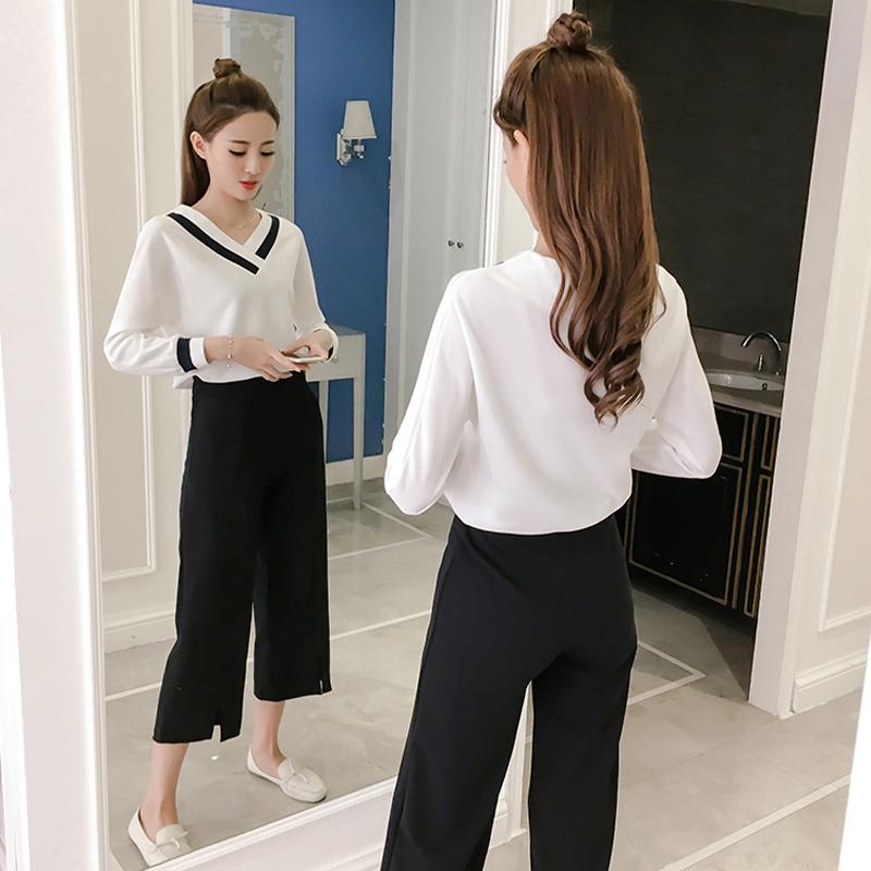 fashion wide leg pants suit spring new Temperament V-collar T-shirt Women's Office Hugh